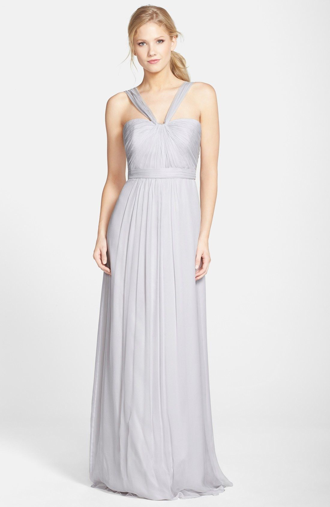 Amsale X-Strap Silk Chiffon Gown available at #Nordstrom | Trajes ...