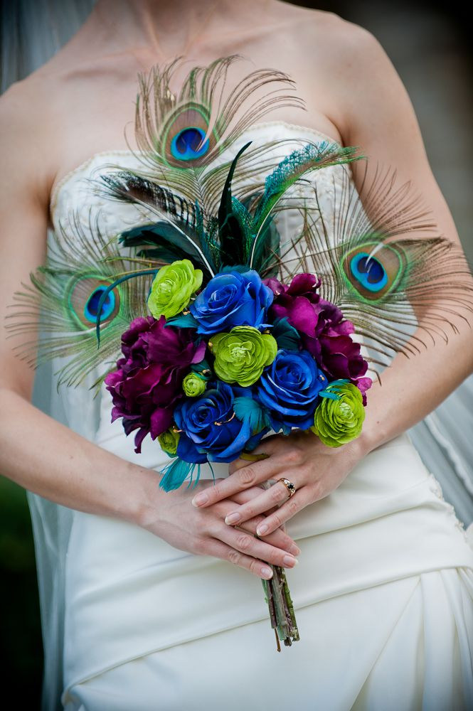 Bouquet--peacock feathers, purple, blue, turquoise and green, plus lights!