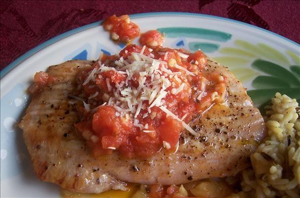 Seared Opah Moonfish With Vine Ripe Tomato Garlic Butter Recipe Food Com Recipe Easy Fish Recipes Recipes Opah Fish Recipe