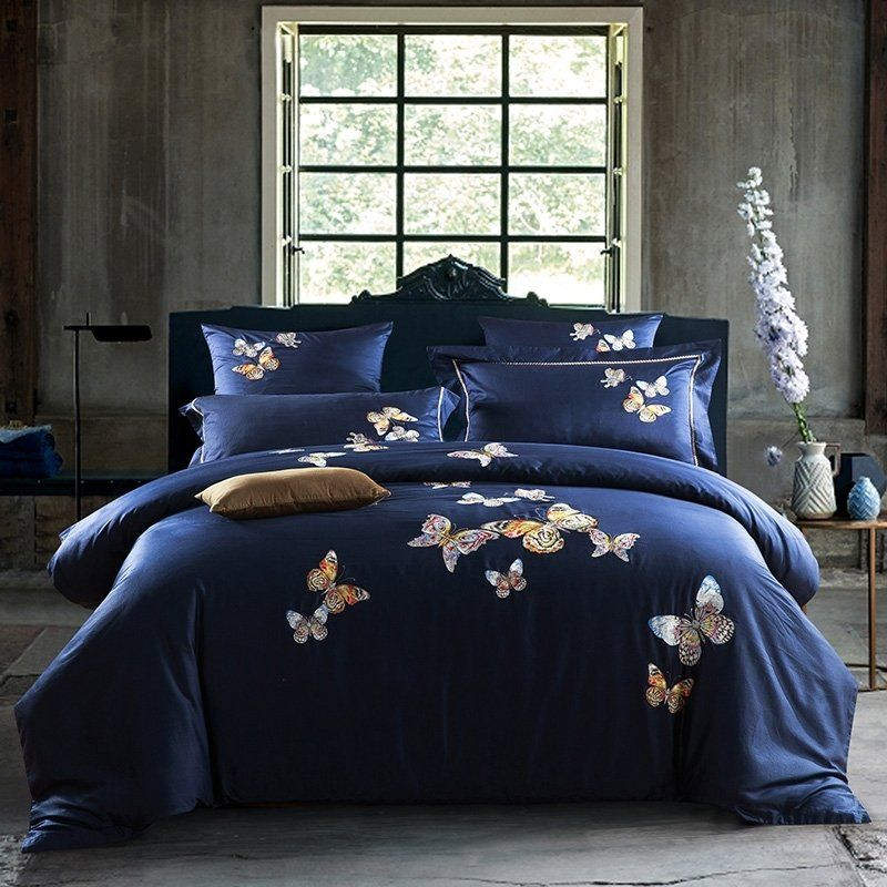 0a84bfae7c13 Dark Blue Beautiful Butterfly Print Modern Shabby Chic Elegant Girls Luxury  100% Egyptian Cotton Full, Queen Size #Bedding #Bedspread #Bedroom Sets