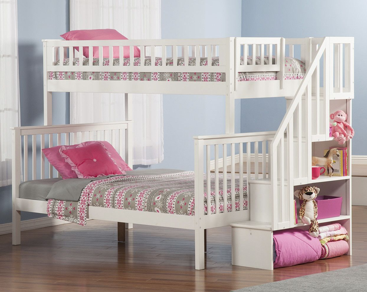 Loft bed storage stairs  Atlantic Furniture Woodland Twin Over Full Bunk Bed with Staircase