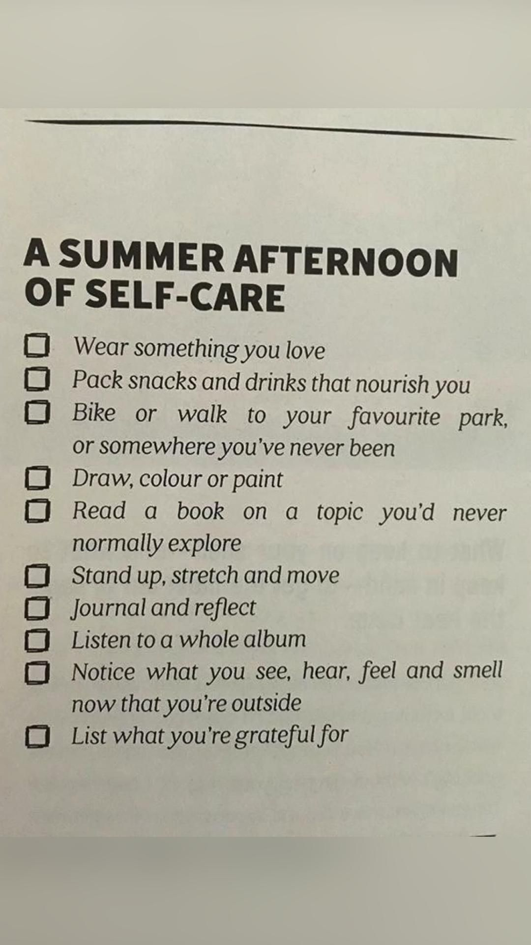 a summer afternoon of self-care