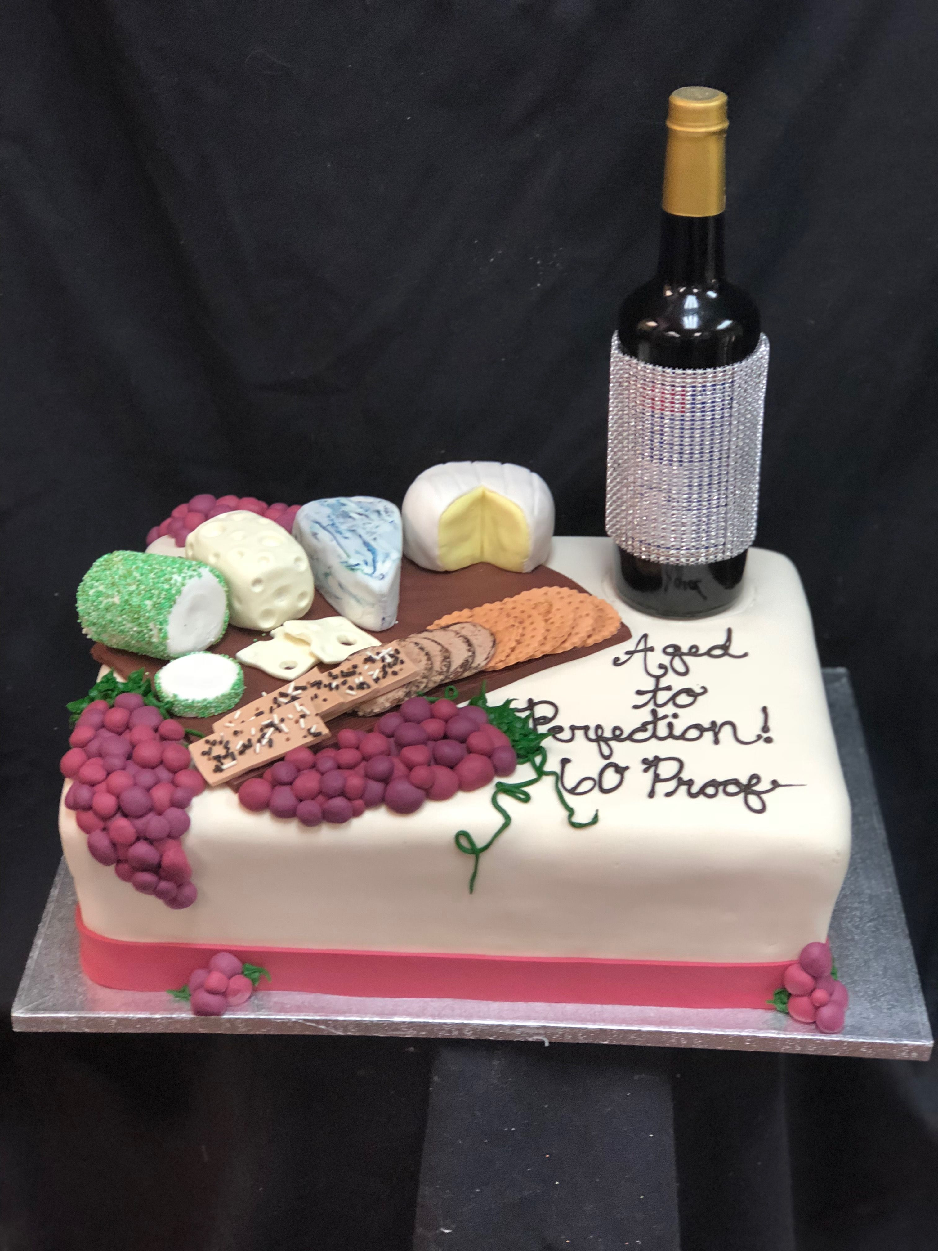 Remarkable Wine Cheese Party Birthday Cake Wine Cake Wine And Cheese Funny Birthday Cards Online Alyptdamsfinfo