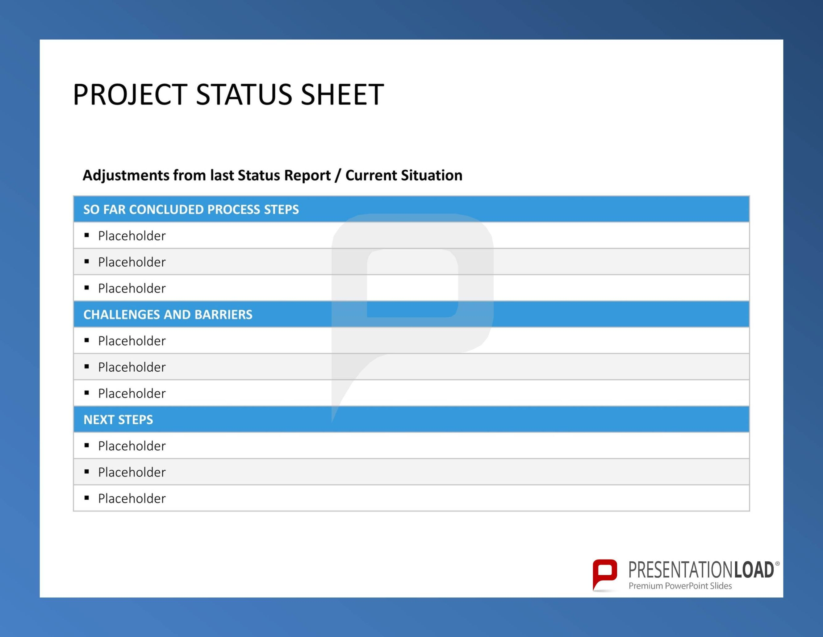 Project Status Sheet - Six Sigma – PowerPoint-templates @ http://www ...