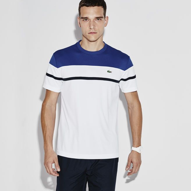 Tennis Lacoste SPORT crew neck t-shirt in color block print ultra-dry piqué