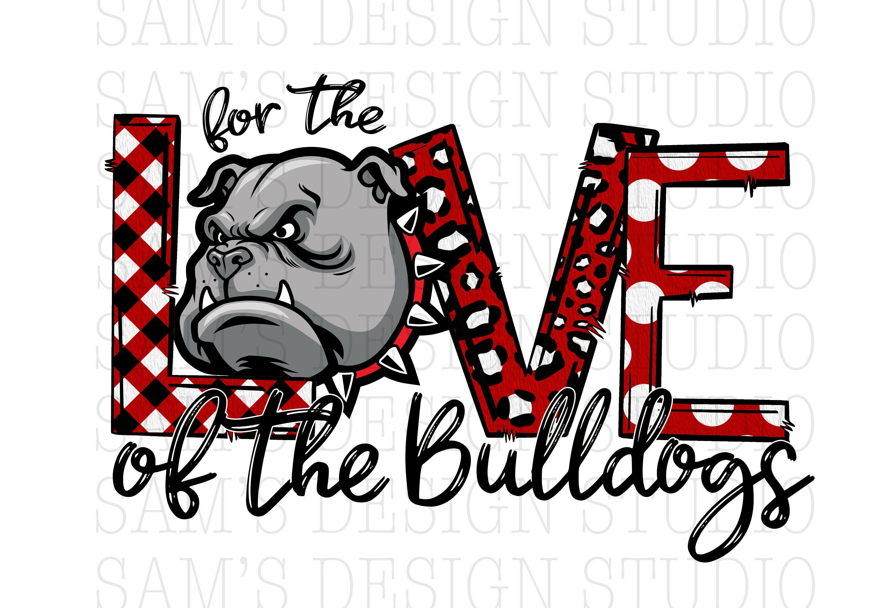 Red Love of the Bulldogs PNG , Red Bulldogs Sublimation