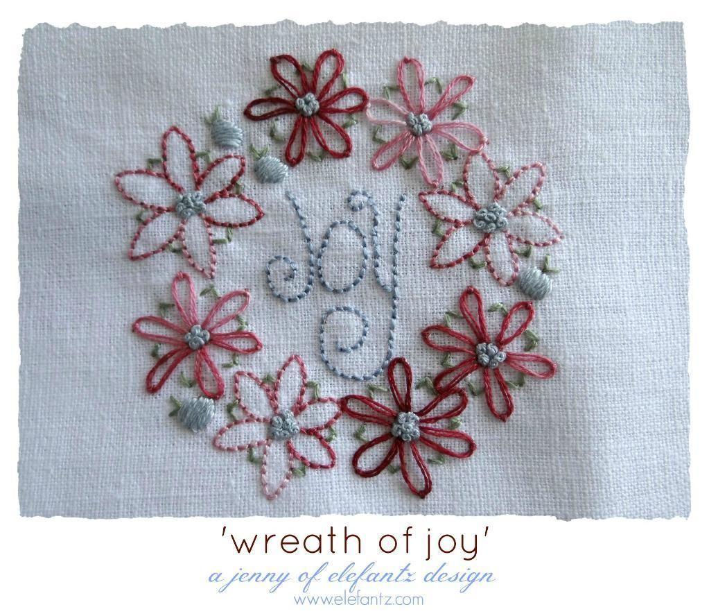 Wreath of joy a pdf stitchery pattern by jenny of elefantz via