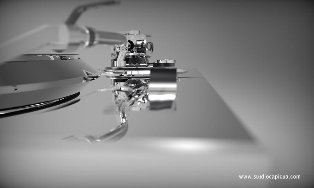 Chromed turntable, Image 100% 3D.