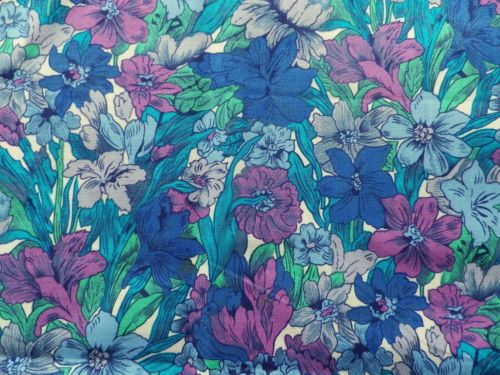 Vintage-Liberty-Cotton-Dress-Fabric-Offcuts-All-Over-Blue-Green-Mauve-Floral