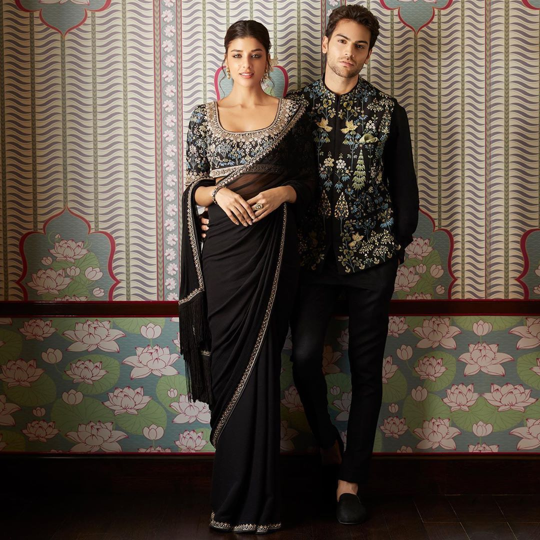 Anita Dongre Black Wedding Outfit Couple Wedding Guest Outfit Inspiration Saree Designs Indian Designer Outfits [ 1080 x 1080 Pixel ]