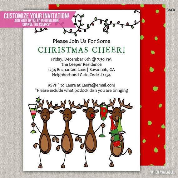 Christmas Gathering 2020 Funny Reindeer Christmas Invitation Holiday invitation Holiday | Etsy
