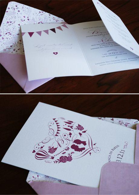 whimsical illustration invite with patterned envelope