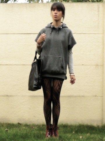 H Sweater, H Shirt, Mango Cut Jean, Le Bourget Tights, Topshop Shoes, I ♥ Addicted Bag