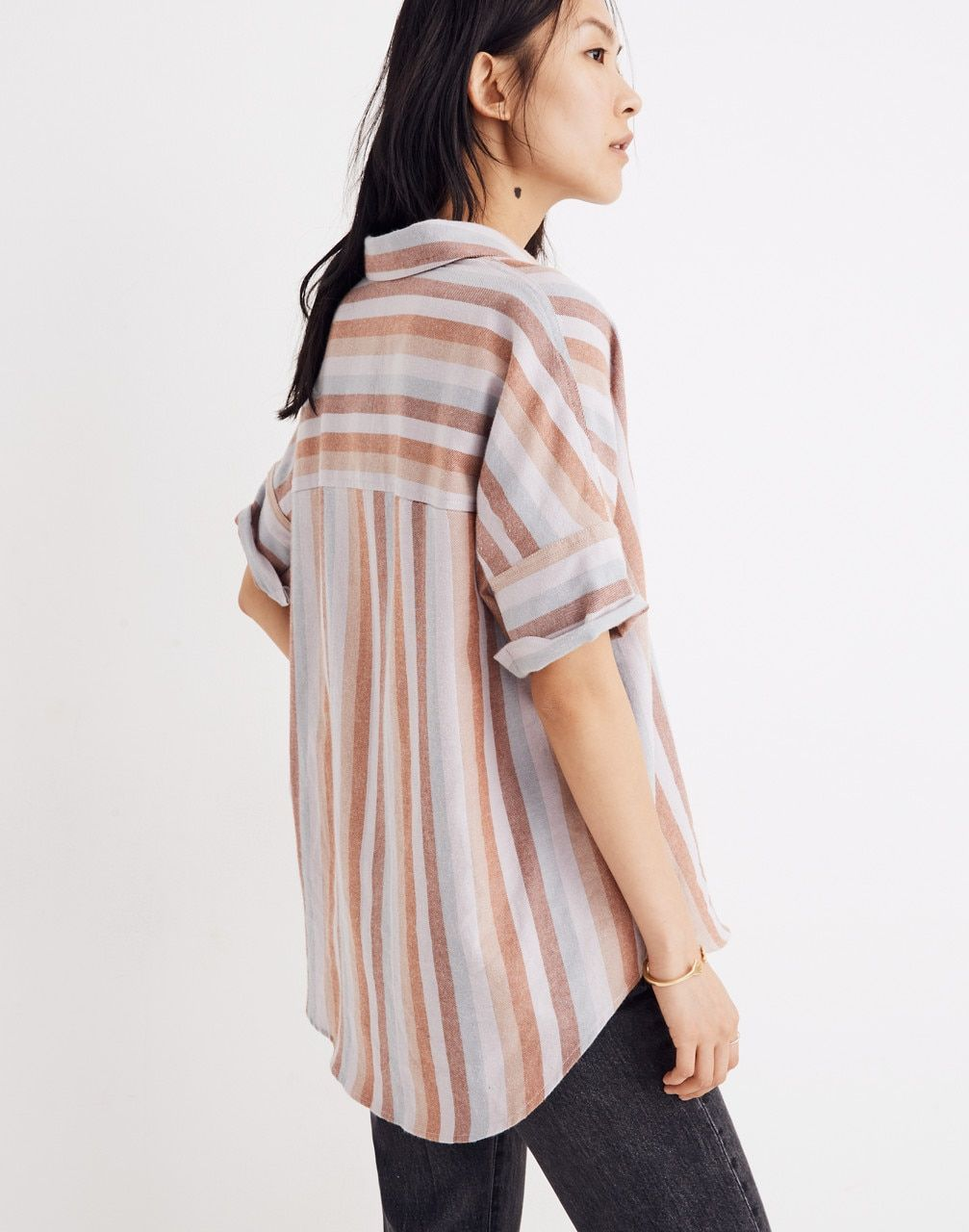 7bf4f54a Flannel Courier Shirt in Sunrise Stripe in christina stripe thistle image 3  Madewell, Flannel,