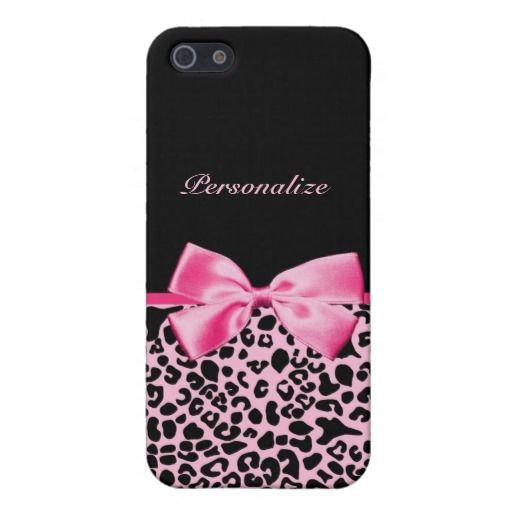 Trendy Pink And Black Leopard Hot Pink Ribbon iPhone 5 Covers