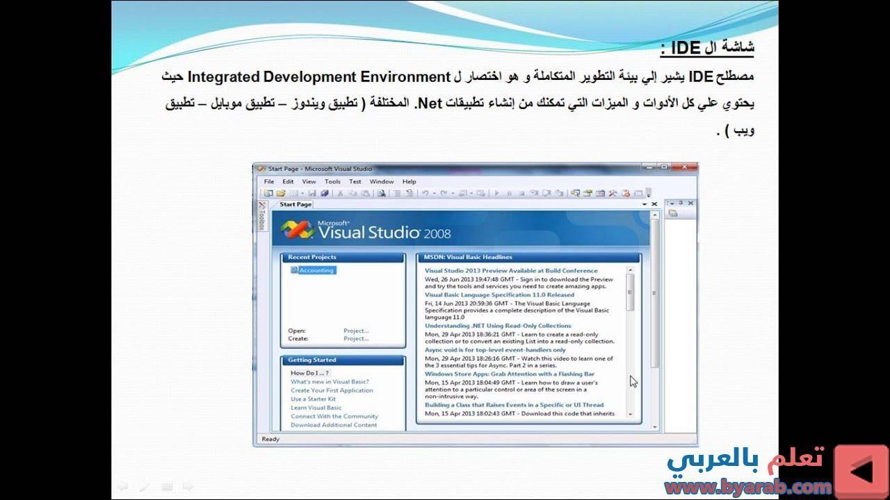 الفصل الثاني المحاضرة الخامسة مقدمة فيجوال بيزيك دوت نت للصف الثالث الاعدادي ترم اول Integrated Development Environment Development Environment