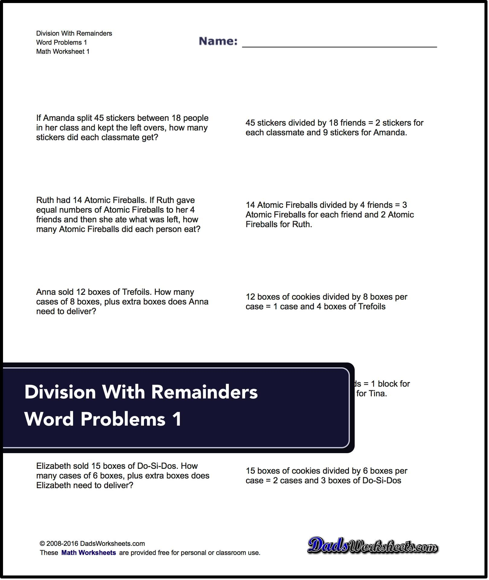 Free Math Worksheets For Division For With Remainders Word