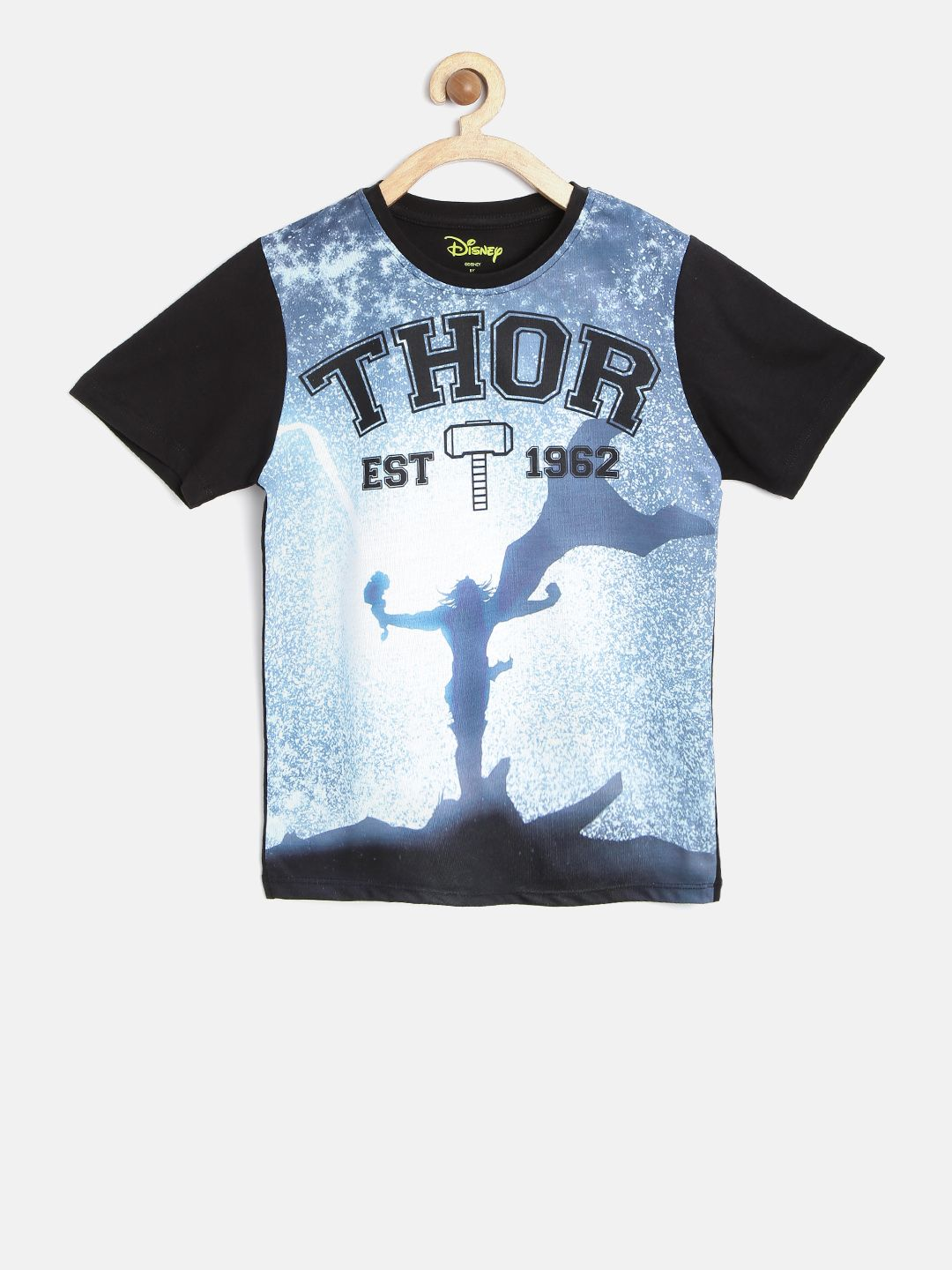 6a3a9b91 Product code: 1750205 | Sold by: Wiztech Corp YK Marvel Boys Blue & Black  Thor Print Round Neck T-shirt from Myntra.