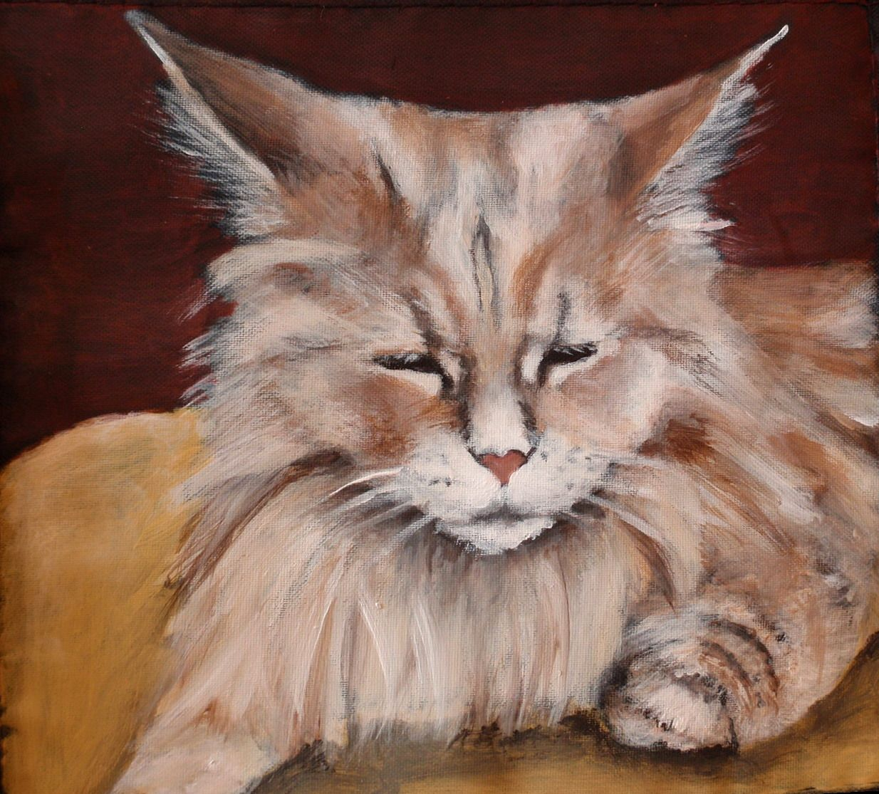 Leo is a long haired orange tabby cat painted on a lunch