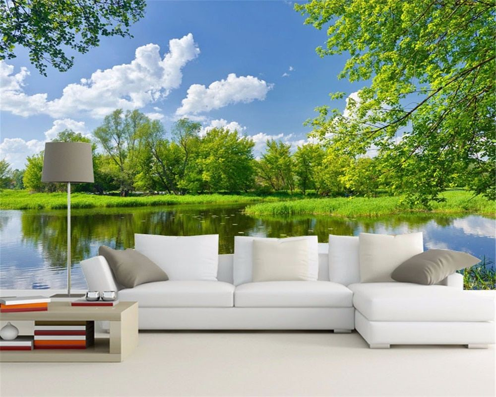 3 D Green Natural Landscape Pictures On The Wall Mural Wallp
