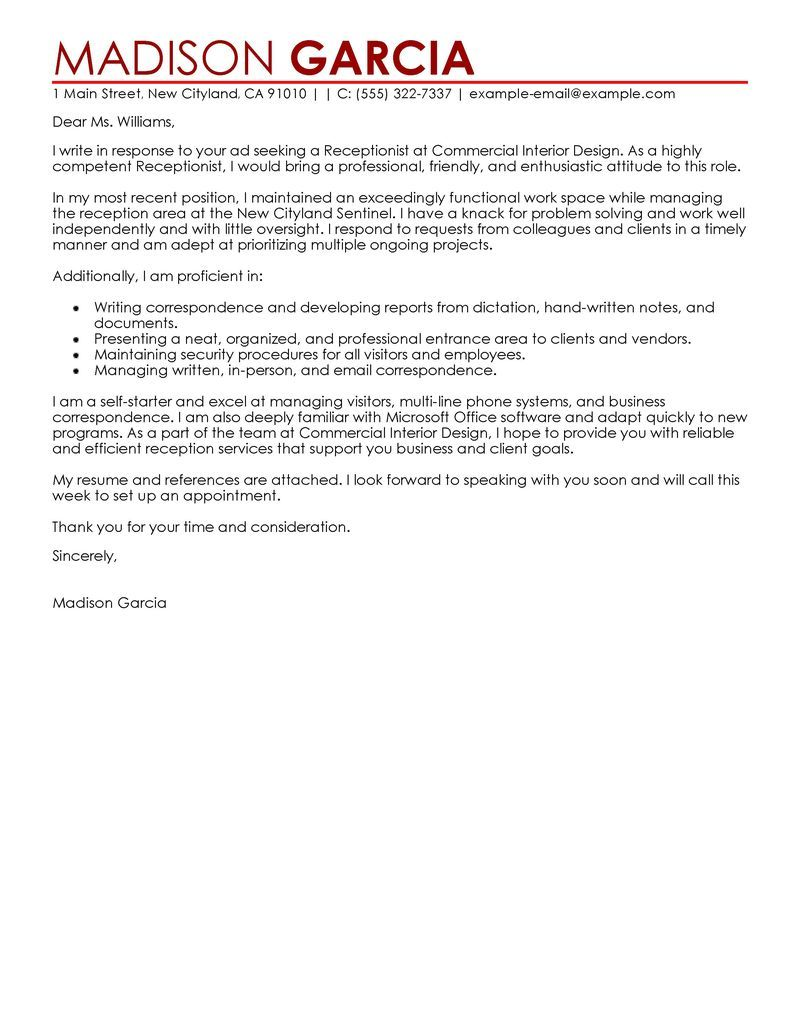 Cover Letter Template Receptionist 1 Cover Letter Template
