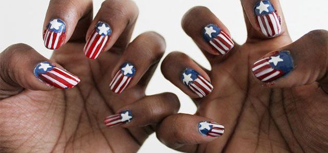 12 Awesome Captain America Nail Art Designs Ideas