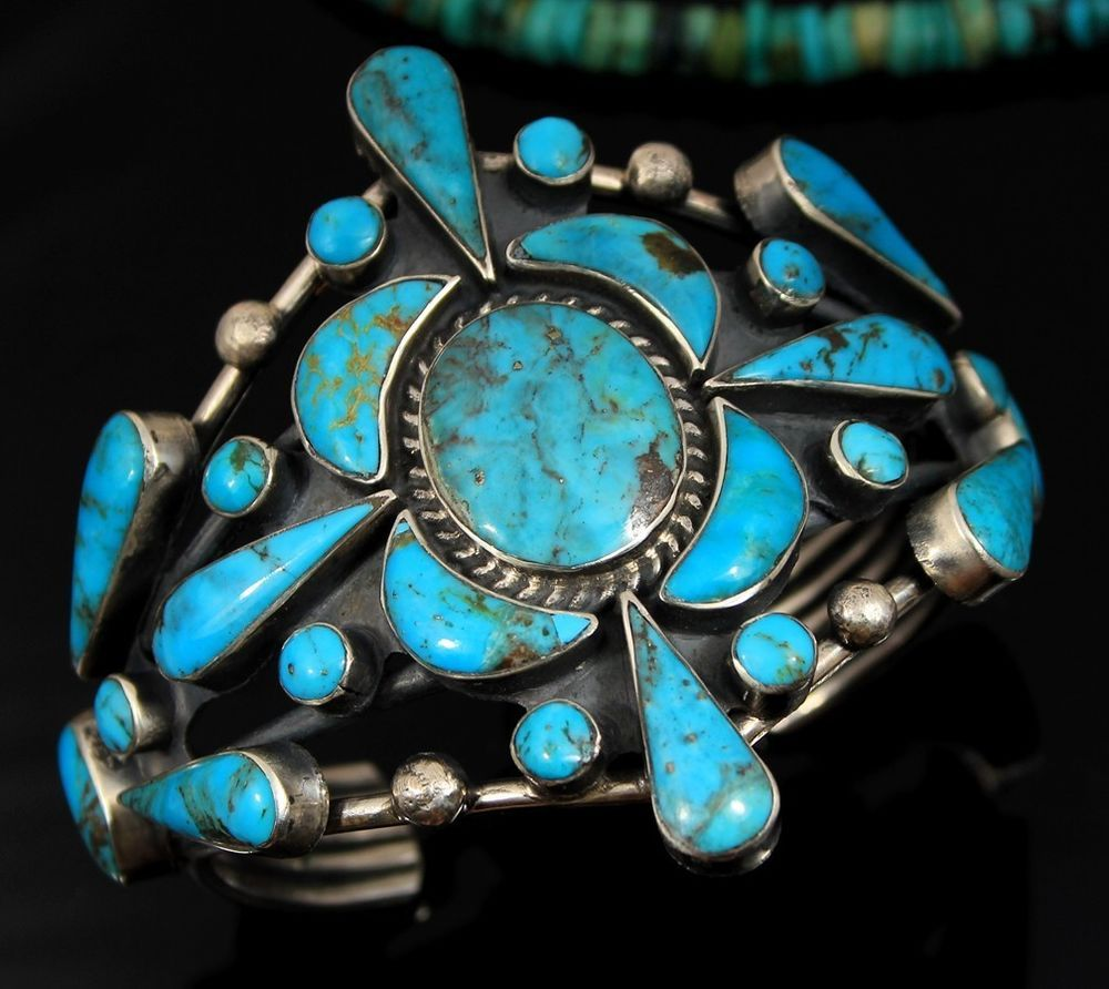 Old Pawn vtg Navajo CLUSTER TURQUOISE Sterling Silver Mens Women