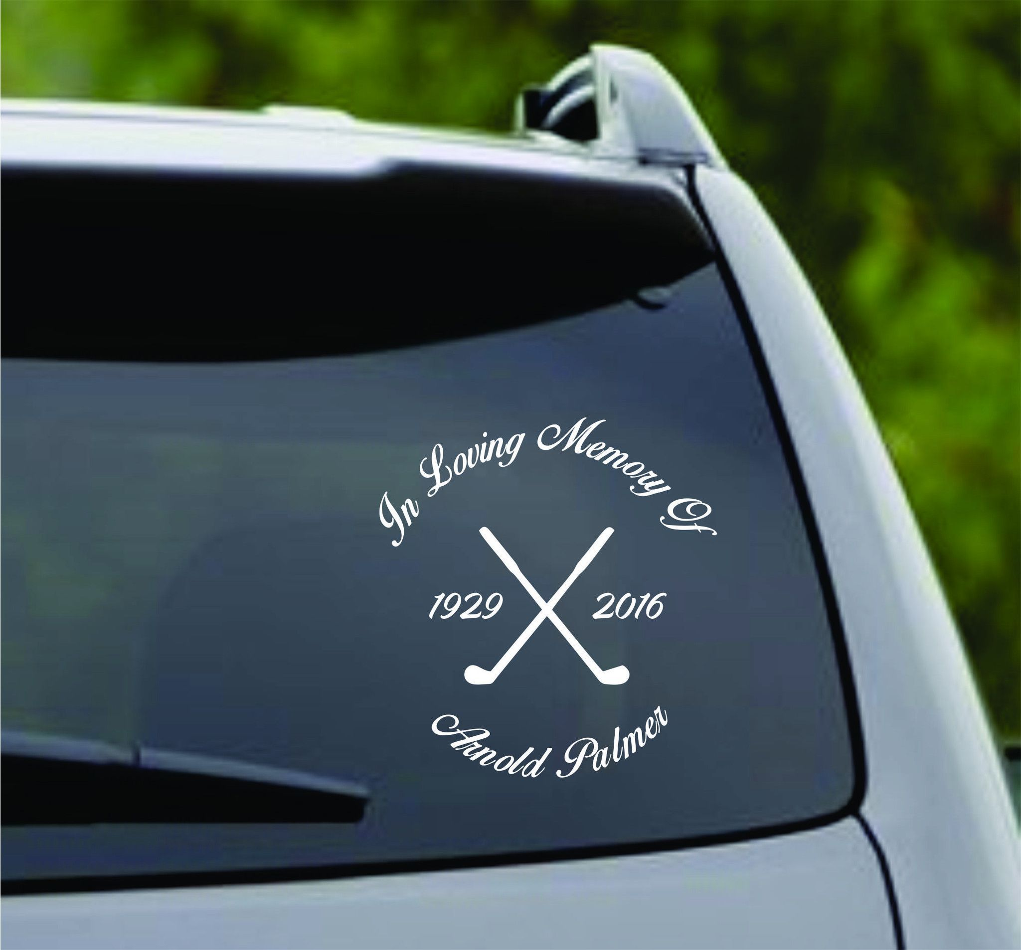 in loving memory arnold palmer version 1 car window windshield lettering decal sticker decals stickers