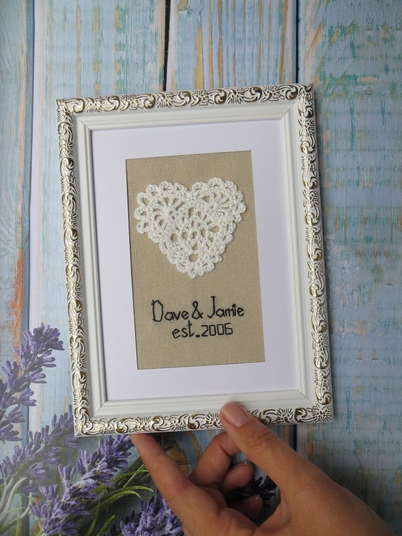 Embroidered 4th 12th 13th wedding anniversary gift for