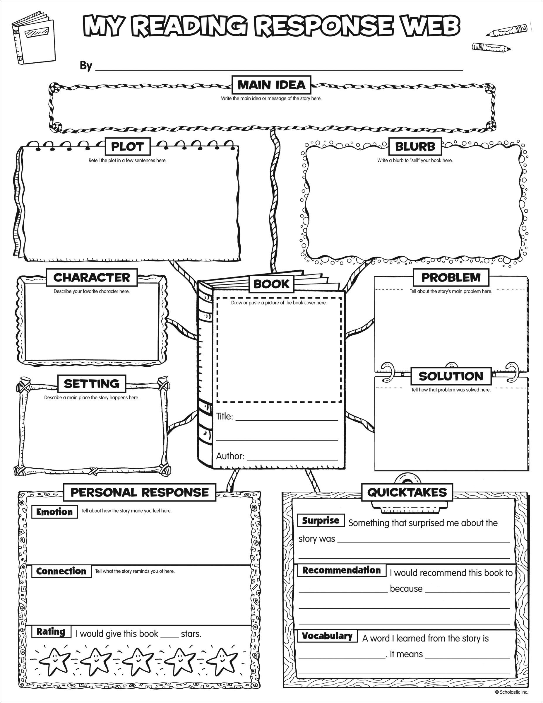 hight resolution of Pin by Lorraine Concilio on Literacy - Reading   Reading response worksheets