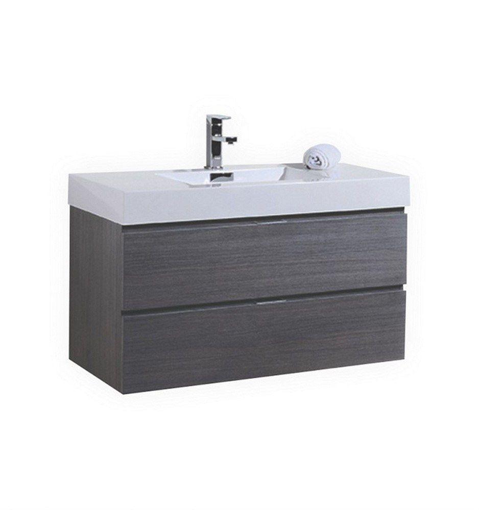 "Kube Bath Bliss 40"" Gray Oak Wall Mount Bathroom Vanity European Hardware"