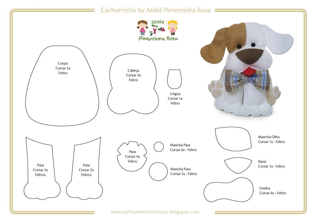 Pin by andrea mcdonough on dogs and cats pinterest plush toy cute felt dog pattern great for charm on bag maxwellsz