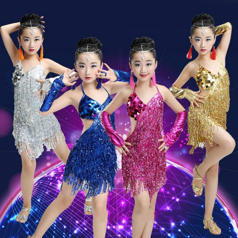 626538f46 Ballroom Dance Wear for Girls Kids Latin Competition Child Dress Sequins  Skirts and Dresses for Tango