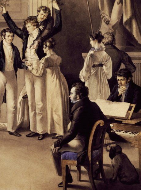 Franz Schubert during a Schubertiade, an evening with friends where they played and listened to music.
