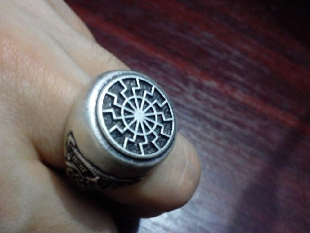 dropshipping 1pcs black sun ring sonnenrad mammen style viking ring