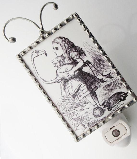 Alice in Wonderland Night Light  Nightlight by SwansonGlassDesign, $24.99