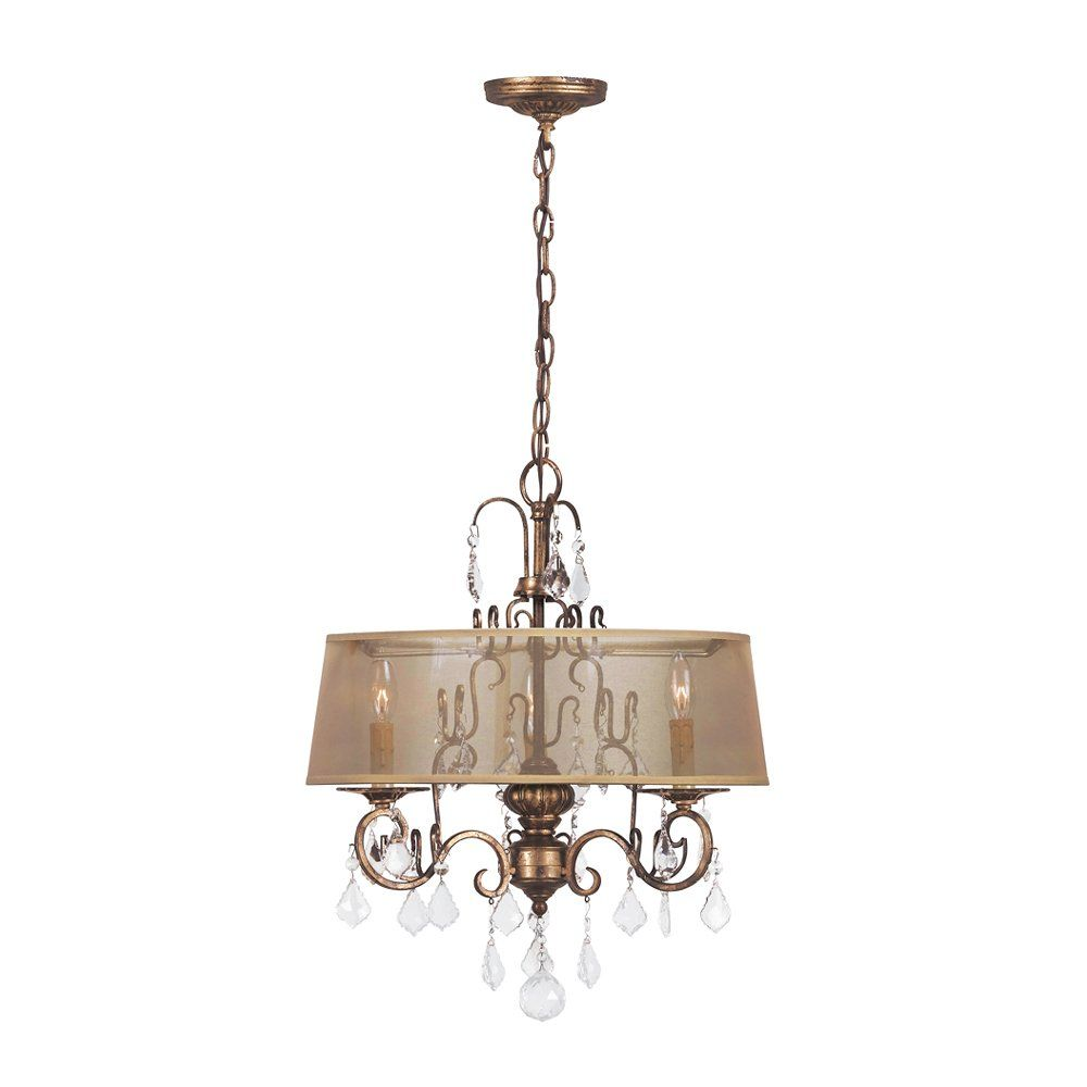 bedroom lighting universeWorld Imports 1943-90 3 Light Belle Marie Crystal Chandelier, Anitque Gold