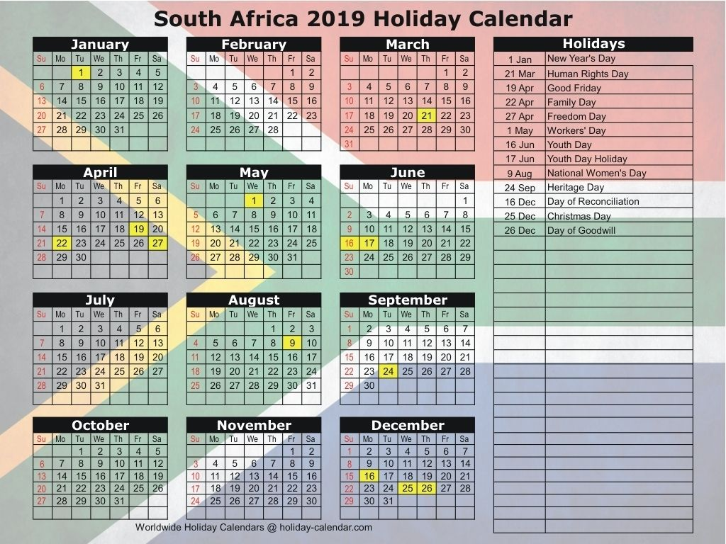 South Africa 2019 2020 Holiday Calendar Make It Holiday