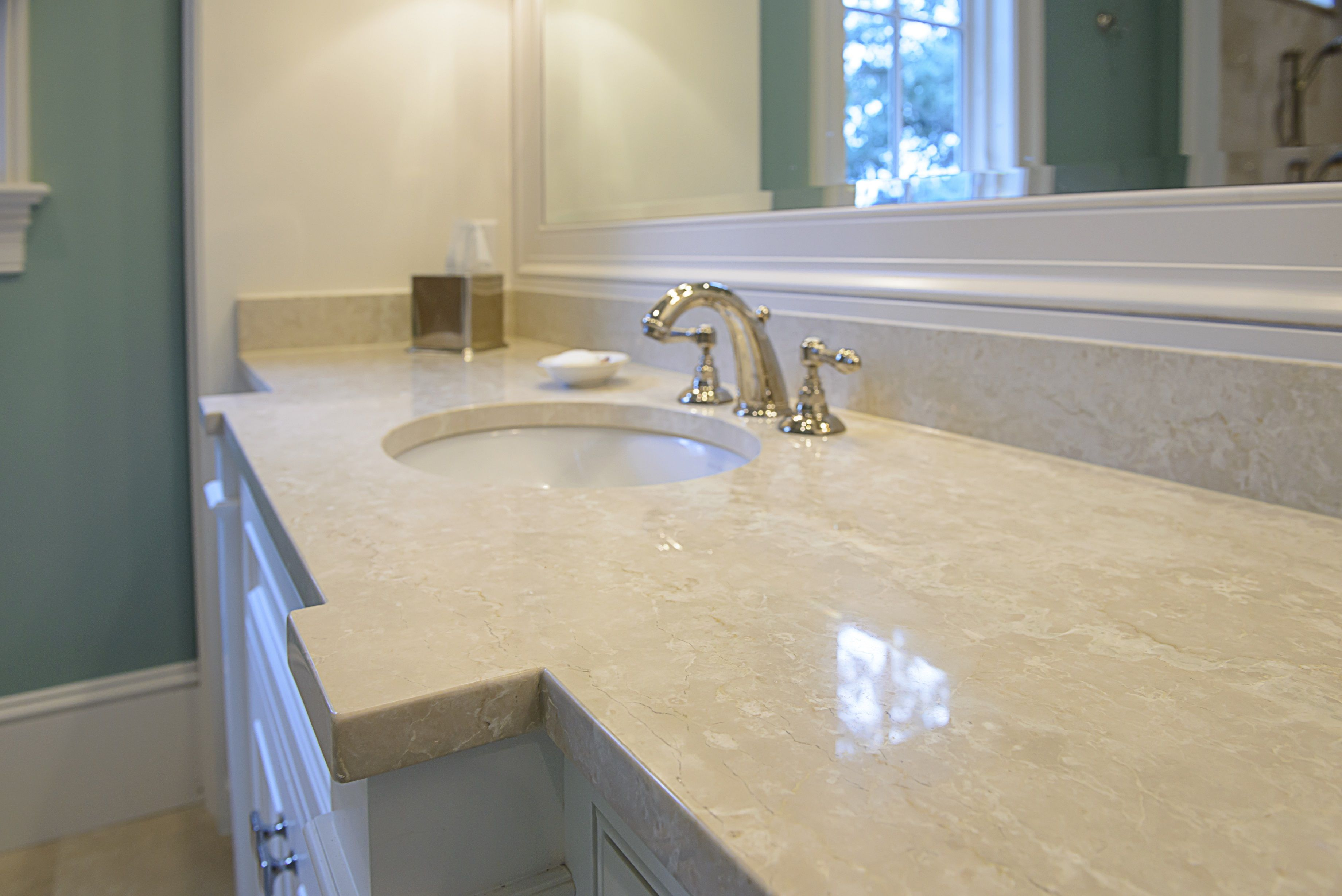 Master Bath Vanity Botticino Fiorito Marble Countertops Eased Edge And Bump Out Following Intricate De Porcelain Countertops Countertops Master Bath Vanity