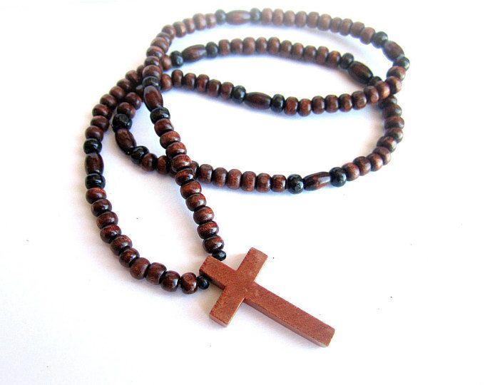 comprare popolare d28d1 e3310 Collana uomo croce legno, collana perline legno, girocollo uomo ...