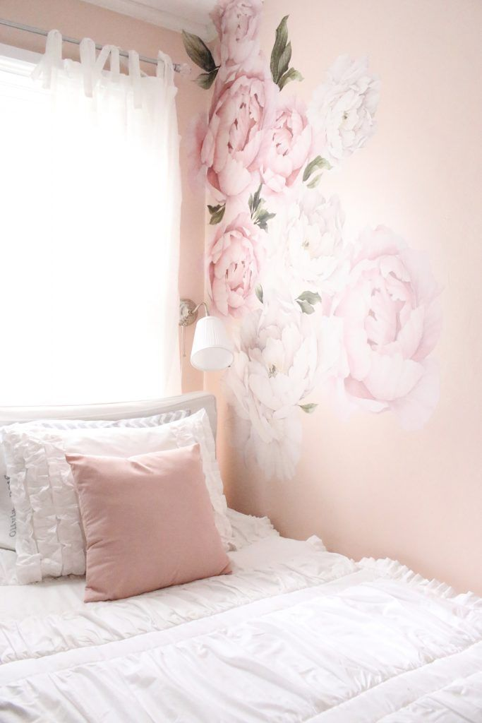 Sweet  feminine tween girl bedroom space kids bedrooms flower wall decals white ruffled bedding pink room home design decor also for  shabby chic rh pinterest