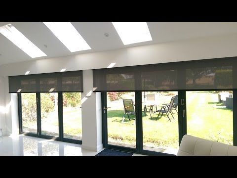 Motorised Electric Roller Blinds With Whisper Screen Fabric The Blinds Are Powered By Somfy Sonesse 40 Rts M Blinds For Bifold Doors Door Blinds Roller Blinds