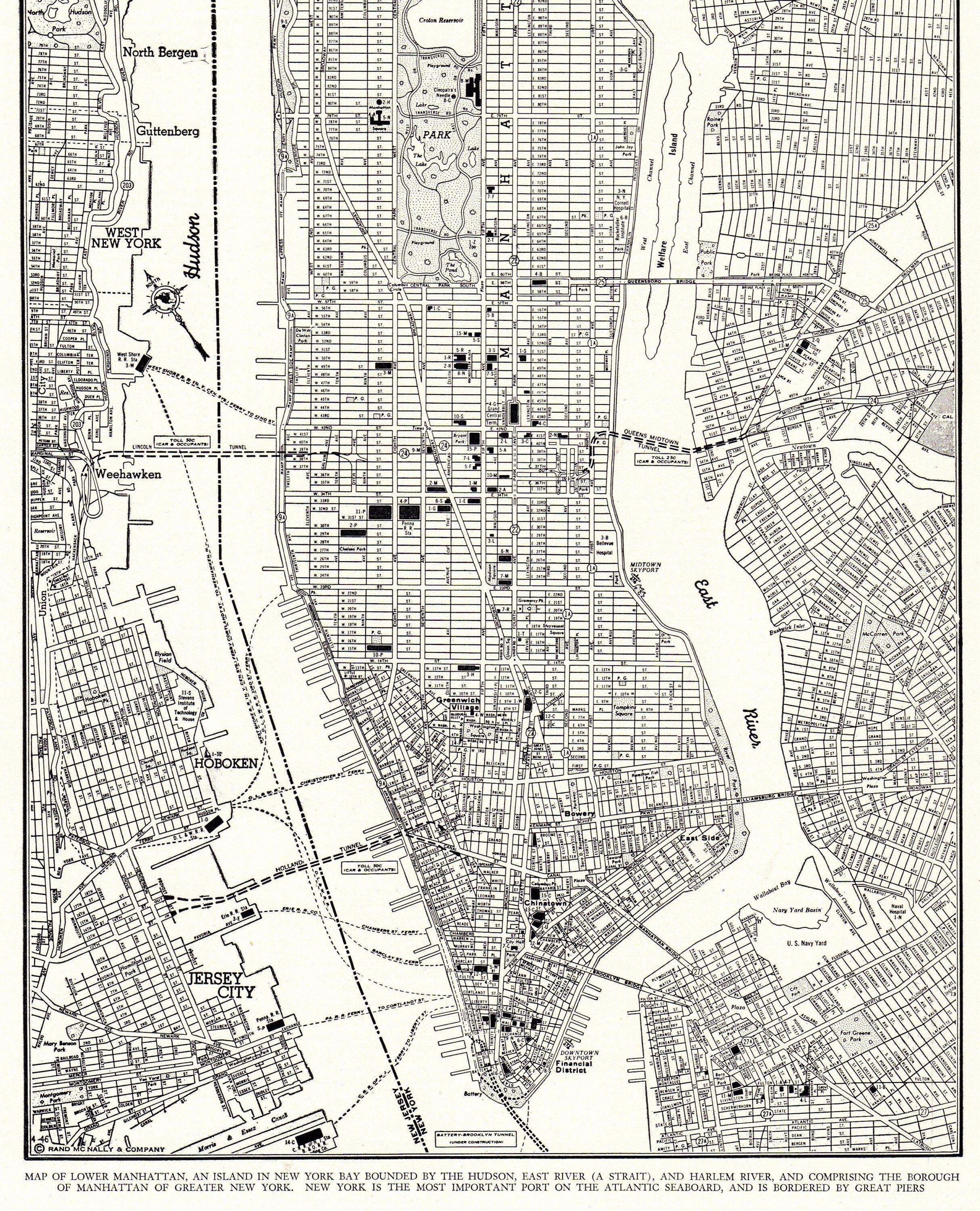 1946 Antique Manhattan Street Map Vintage New York City Map Print Black And White Map Wall Art Gift For Birthday Anniversary Wedding 9932 Map Of New York New York City Map Manhattan Map