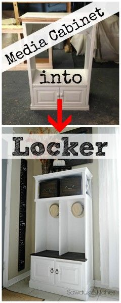 Media Cabinet Makeover into a Locker | Stitches, 2! and Cabinets
