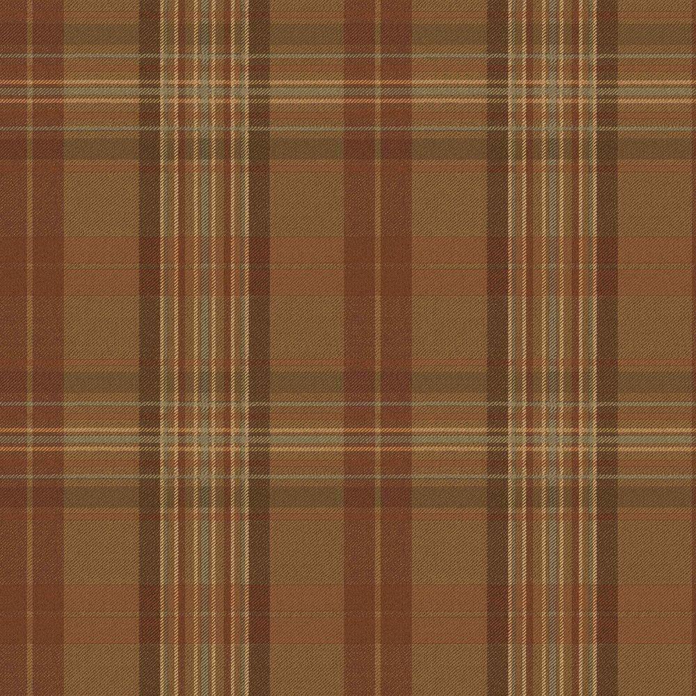 Chesapeake Austin Brown Plaid Brown Wallpaper Sample