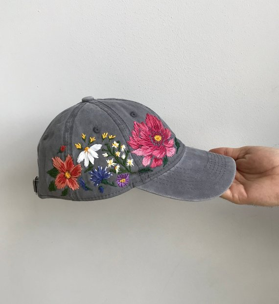 Hand Embroidered Hat Embroidered Baseball Caps Custom Etsy Embroidered Hats Custom Embroidered Hats Hand Embroidered