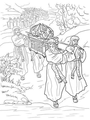 Dibujo De Josue Y Los Israelies Cruzan El Rio Jordan Para Colorear Dibujos Para Artesania Biblica Manualidades De La Biblia Para Ninos Lecciones De La Biblia