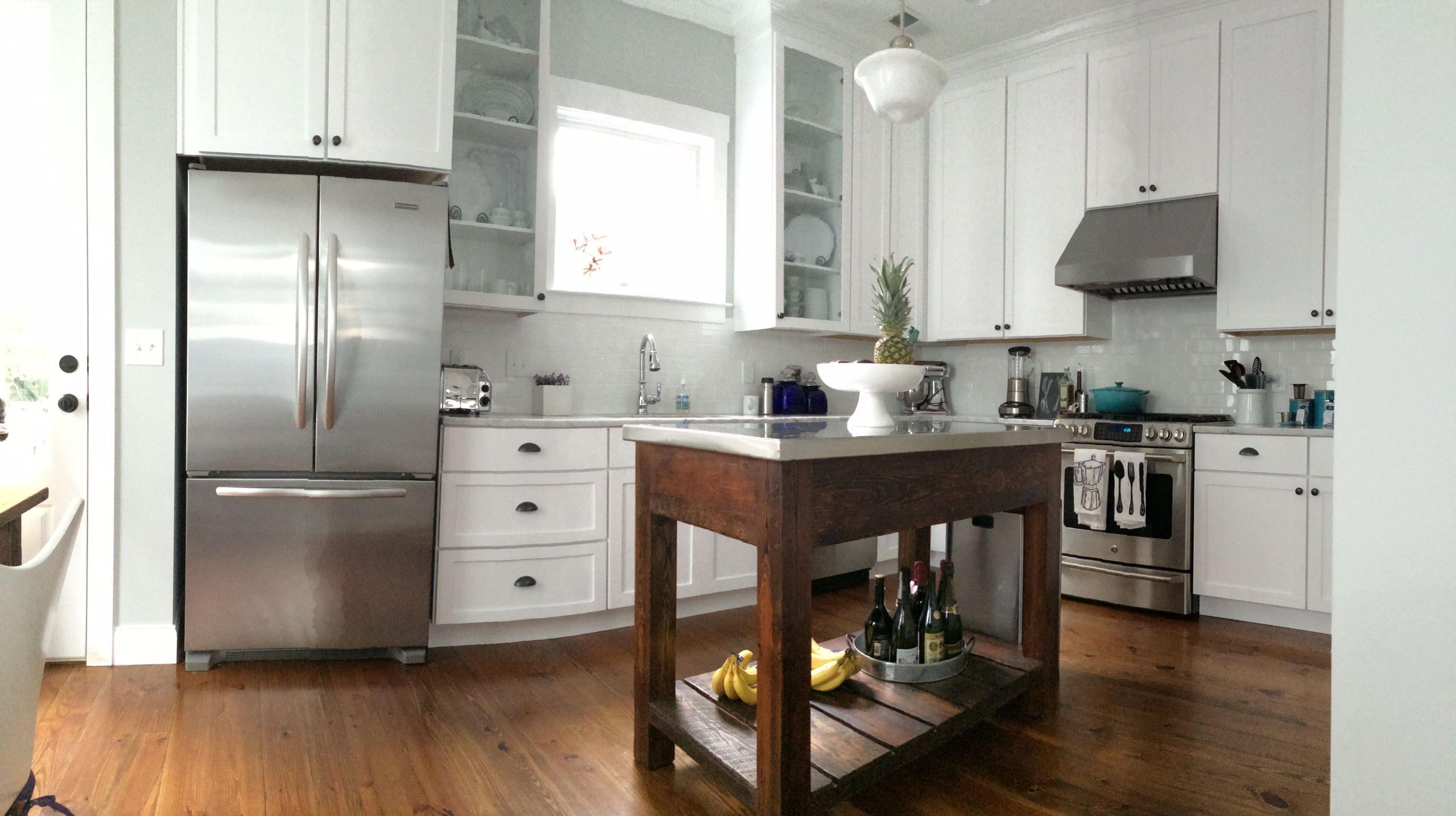 kitchen island: stainless steel top with base made from ...