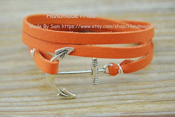 Silver Anchor BraceletOrange Leather Cord by HandmadeTribe on Etsy, $3.99