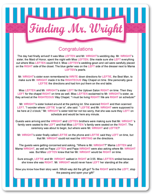 Printable Finding Mr Wright Blue Stripes Fun Bridal Shower Games Bridal Shower Games Printable Bridal Shower Games